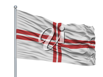 Latvia Naval Ensign Flag On Flagpole, Isolated On White Background, 3D Rendering