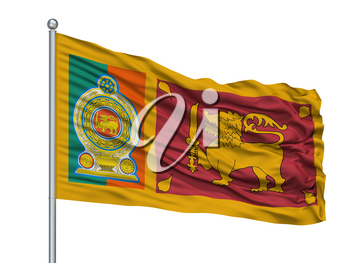 Sri Lankan Army Flag On Flagpole, Isolated On White Background, 3D Rendering