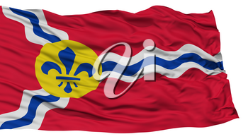 Isolated St. Louis City Flag, City of Missouri State, Waving on White Background, High Resolution