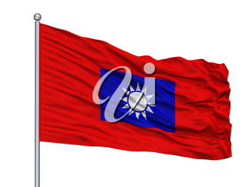Republic Of China Army Flag On Flagpole, Isolated On White Background, 3D Rendering