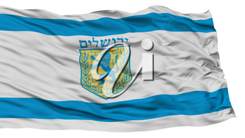 Isolated Jerusalem City Flag, Capital City of Israel, Waving on White Background, High Resolution