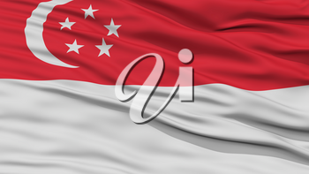 Closeup Singapore City Flag, Capital City of Singapore, Waving in the Wind