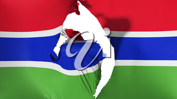 Damaged Gambia flag, white background, 3d rendering