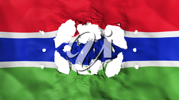 Holes in Gambia flag, white background, 3d rendering