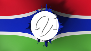 Hole cut in the flag of Gambia, white background, 3d rendering