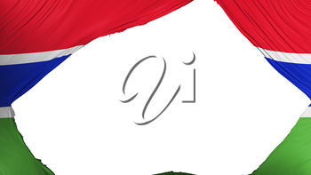 Divided Gambia flag, white background, 3d rendering