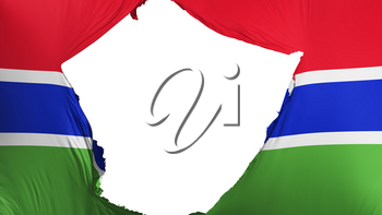 Cracked Gambia flag, white background, 3d rendering