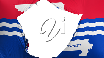 Cracked Jefferson city, capital of Missouri state flag, white background, 3d rendering