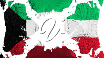 Kuwait torn flag fluttering in the wind, over white background, 3d rendering