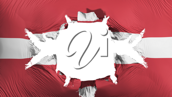 Latvia flag with a big hole, white background, 3d rendering