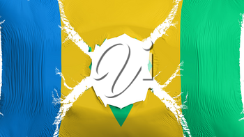 Saint Vincent and Grenadines flag with a hole, white background, 3d rendering
