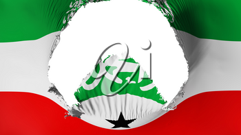 Big hole in Somaliland flag, white background, 3d rendering