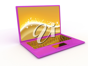 Royalty Free Clipart Image of a Pink Laptop