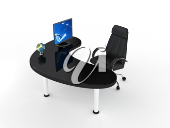 Royalty Free Clipart Image of a Computer on a Desk