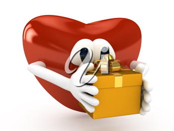 Royalty Free Clipart Image of a Heart Holding a Present