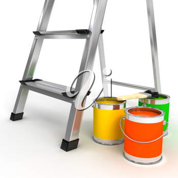 Royalty Free Clipart Image of a Ladder and Paint Cans