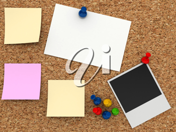 Royalty Free Clipart Image of a Corkboard With Notes