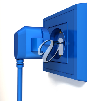 Royalty Free Clipart Image of an Electric Plug and Outlet