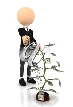 Royalty Free Clipart Image of a Man Watering a Money Plant