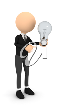 Royalty Free Clipart Image of a Businessman Holding a Light Bulb