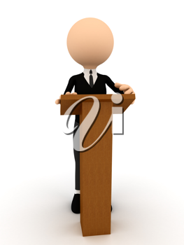 Royalty Free Clipart Image of a Person Standing at a Podium