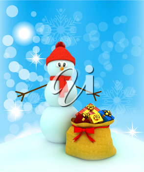 Royalty Free Clipart Image of a Snowman With a Bag of Presents