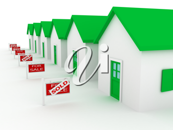 Royalty Free Clipart Image of a Group of Houses for Sale
