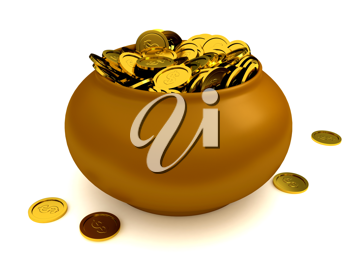 Royalty Free Clipart Image of a Pot of Gold Coins