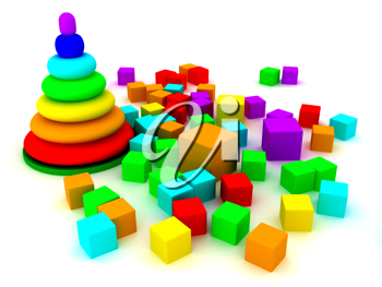Royalty Free Clipart Image of a Toy Pyramid and Blocks