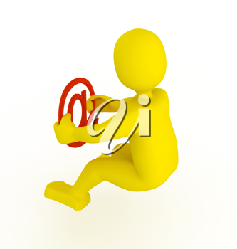 Royalty Free Clipart Image of a Person With an Email Sign