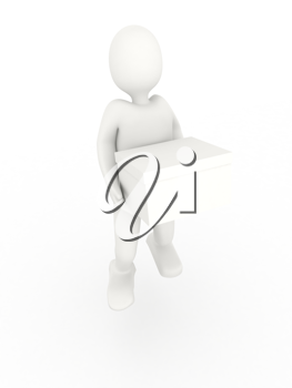 Royalty Free Clipart Image of a Person Carrying a Box