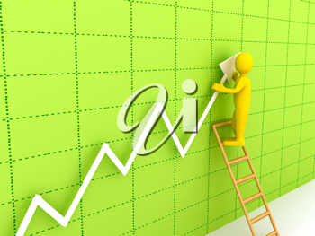 Royalty Free Clipart Image of a Businessman With a Chart