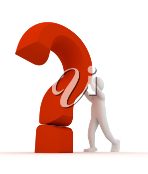 Royalty Free Clipart Image of a Person Beside a Question Mark