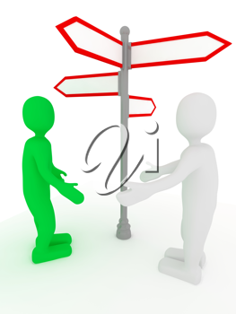 Royalty Free Clipart Image of People Near a Signpost