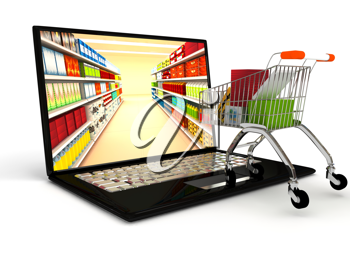 Royalty Free Clipart Image of a Laptop and Shopping Cart