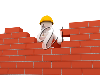 Royalty Free Clipart Image of a Person by a Brick Wall