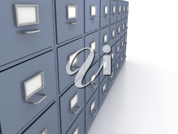 Royalty Free Clipart Image of a Bunch of Filing Cabinets