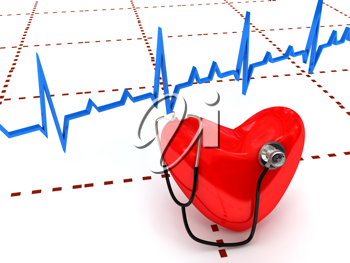 Royalty Free Clipart Image of a Stethoscope on a Heart