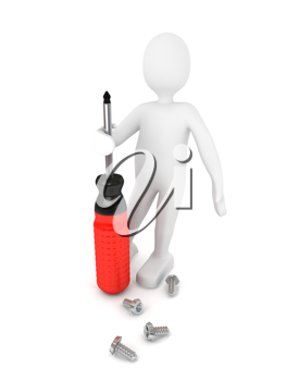 Royalty Free Clipart Image of a Person Holding a Screwdriver