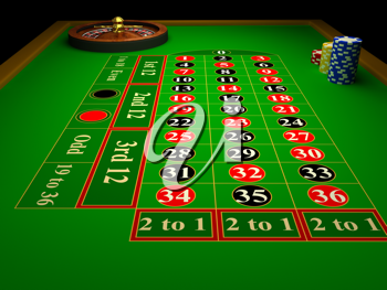 Royalty Free Clipart Image of a Casino Roulette Table