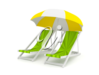 Royalty Free Clipart Image of Chairs Under an Umbrella