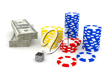 Royalty Free Clipart Image of a Stack of Money and Casino Chips