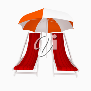 Royalty Free Clipart Image of Two Chairs Under an Umbrella