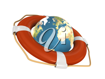 Royalty Free Clipart Image of a Lifebuoy Around a Globe