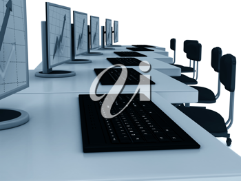 Royalty Free Clipart Image of a Bunch of Computer