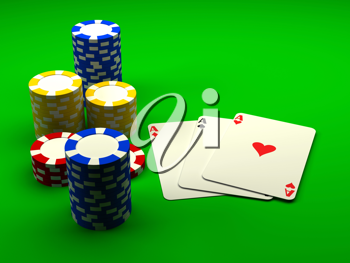Royalty Free Clipart Image of Playing Cards and Casino Chips