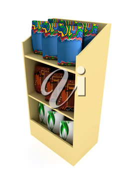 Royalty Free Clipart Image of a Shelf of Products
