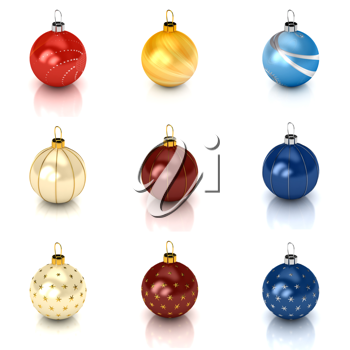 Royalty Free Clipart Image of a Bunch of Christmas Ornaments