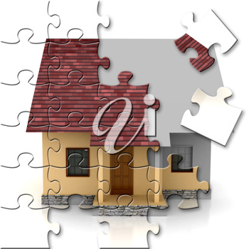 Royalty Free Clipart Image of a Puzzle of a House