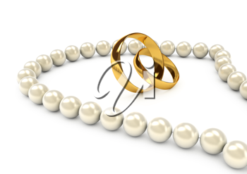 Royalty Free Clipart Image of a Pearl Necklace and Gold Rings